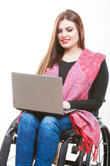 Disabled lady surfing on web.