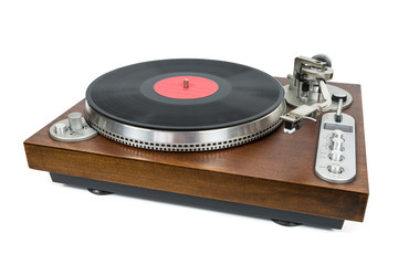 Turntable with vinyl record on white background