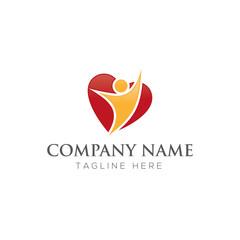 Healthy heart people logo design vector