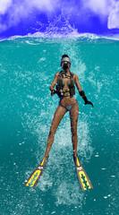 Diver Splashing Down Into The Ocean 3d Rendering