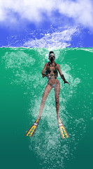 Diver Splashing Down Into The Ocean 3d Rendering