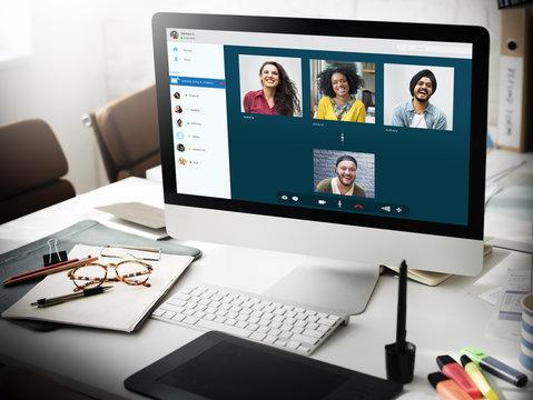 Desktop computer showing group chat screen
