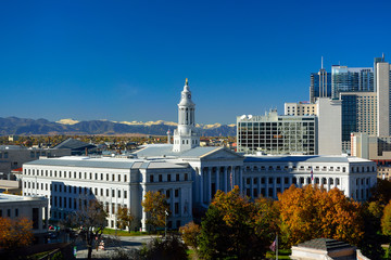 Denver, Colorado City Hall with Colorful Fall Leaves and the Roc