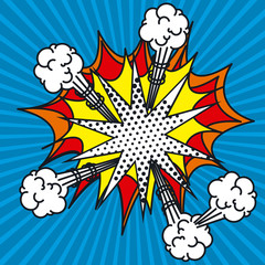 explosion pop art style vector illustration design