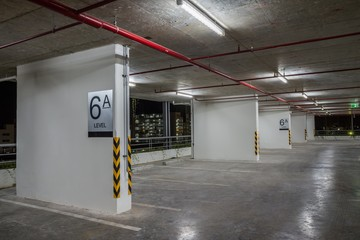 Parking garage interior neon lights