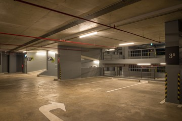 Parking garage in building