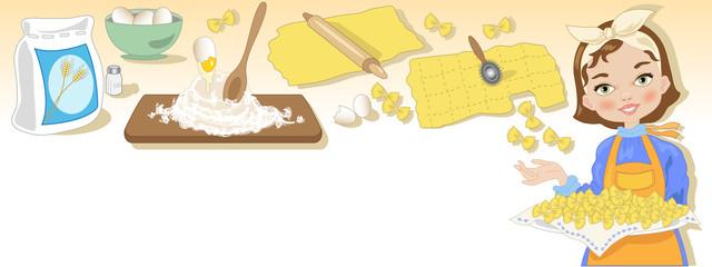 Sfondo Intestazione con Casalinga e Pasta Fresca
