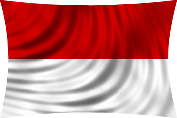 Flag of Indonesia, Monaco, Hesse waving on white