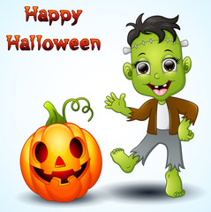 happy little frankenstein and pumpkin cartoon