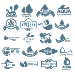 Logo set. Label for mineral water. Aqua icons collection. Vector