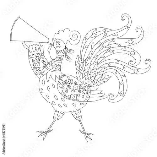 Coloring Book With Rooster Chinese Symbol Of 2017 Year Vector