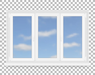 Realistic white plastic window with sky view. Vector illustration.