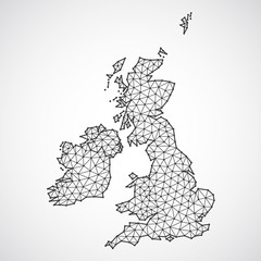 Polygonal british islands maps. Map of United kingdom and ireland in low poly style. Country map in geometric style for your infographics