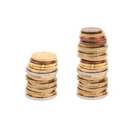 Multiple euro coins isolated