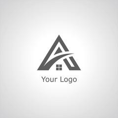 letter A roof building logo
