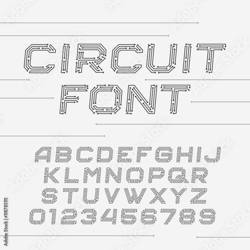Circuit Board Font Vector Alphabet Digital Hi Tech