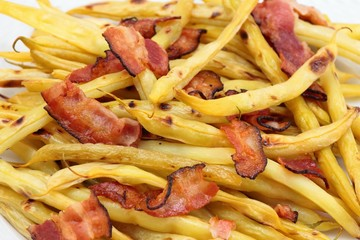 Grilled yellow beans & bacon,vegetable food texture pattern background