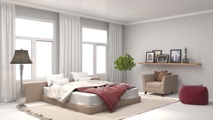 Bedroom interior. 3d illustration