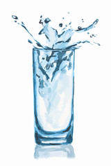 Isolated watercolor glass. Glass of water with ice cubes and splash. Fresh healthy beverage.
