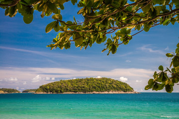 Tropical island in sunny day, Phuket Thailand - summer holiday concept