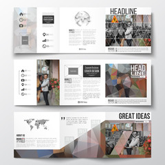 Set of tri-fold brochures, square design templates. Polygonal background, blurred image, urban landscape, cityscape, modern stylish triangular vector texture.