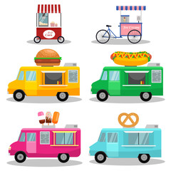 vector Ice cream cart.Set of fast food trucks. Ice cream, popcorn, bakery.popcorn, Hot Dog, burger machine