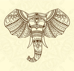 Greeting Beautiful card with indian patterned head of elephant. Vector illustration. Use for print, posters, t-shirts or any other kind design. african indian totem tattoo design.