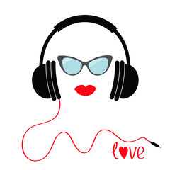 Headphones with red cord. Sunglasses and lips Love Music card. Flat design icon. White background Isolated