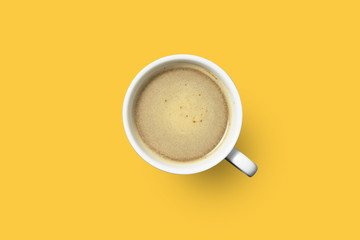 hot coffee in white cup on color background