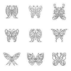 Butterfly vector set.
