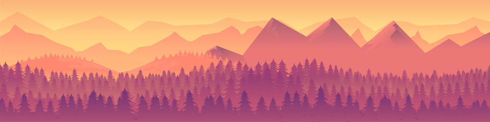 Landscape panorama Vector illustration