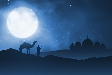 Silhouette of man and his camel on sand desert