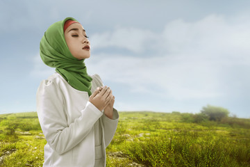 Young asian muslim woman look beauty with hijabstyle