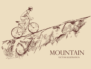 Bicyclist riding  mountains