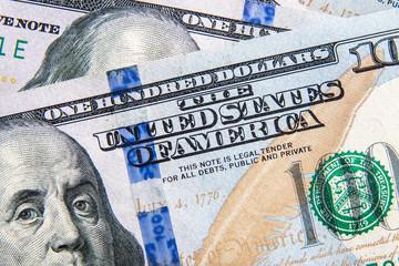 Macro Close-Up on Hundred Dollar Bills