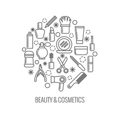 Beauty and cosmetics thin outline vector icons in circle design