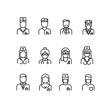 Doctor icons, nurse symbols, medical professionals vector avatars
