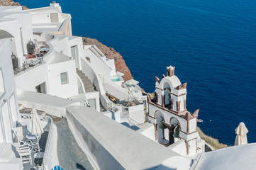 View of Oia with an old church in Santorini island