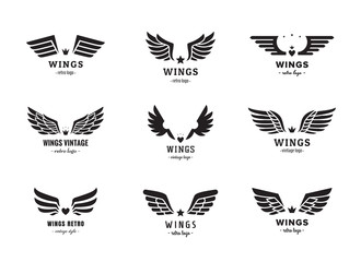 Wings silhouette logo vector set. Vintage design. Part one.