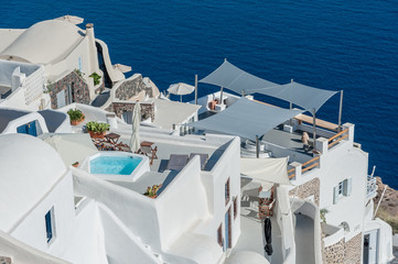 Terraces over the sea of Santorini