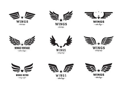 Wings silhouette logo vector set. Vintage design. Part one.