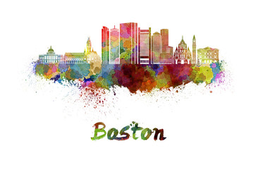 Fototapete - Boston skyline in watercolor