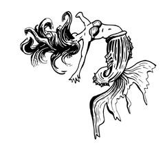Tatoo ontwerp stervende zeemeermin