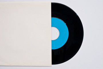 one vinyl long play records and cover - free space for text -