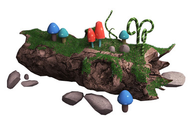 3d illustration on a white background. old fallen tree and mushr