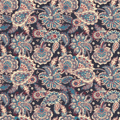 paisley seamless pattern with ethnic flowers. Vector Floral Illustration in asian textile style