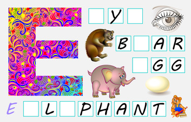 Educational page for children with letter E for study English. Need to write the letters in the empty squares. Developing skills for writing and reading. Vector image.