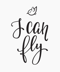 I can fly quote typography
