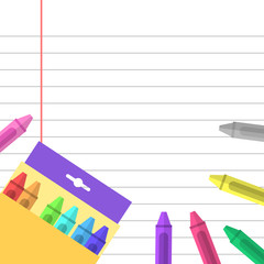 Crayons and paper background
