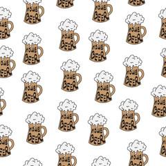 Beer seamless texture, beer background, beer wallpaper. Vector illustration